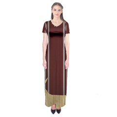 Background Texture Distress Short Sleeve Maxi Dress