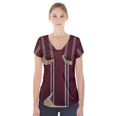 Background Texture Distress Short Sleeve Front Detail Top