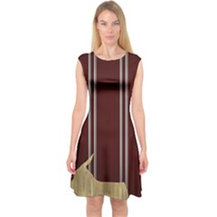 Background Texture Distress Capsleeve Midi Dress