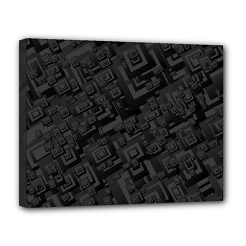 Black Rectangle Wallpaper Grey Canvas 14  x 11