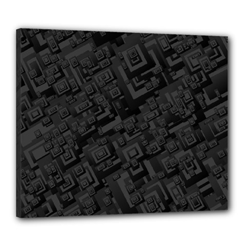 Black Rectangle Wallpaper Grey Canvas 24  x 20