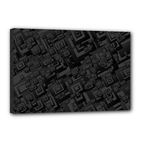 Black Rectangle Wallpaper Grey Canvas 18  x 12