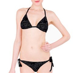 Black Rectangle Wallpaper Grey Bikini Set