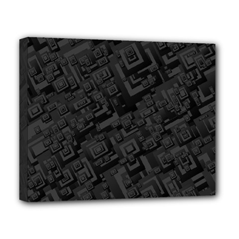 Black Rectangle Wallpaper Grey Deluxe Canvas 20  x 16