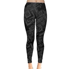 Black Rectangle Wallpaper Grey Leggings