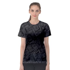 Black Rectangle Wallpaper Grey Women s Sport Mesh Tee
