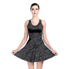 Black Rectangle Wallpaper Grey Reversible Skater Dress