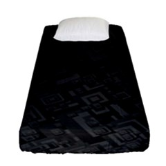 Black Rectangle Wallpaper Grey Fitted Sheet (Single Size)