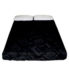 Black Rectangle Wallpaper Grey Fitted Sheet (Queen Size)