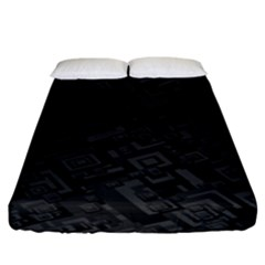 Black Rectangle Wallpaper Grey Fitted Sheet (King Size)