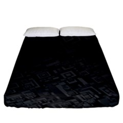 Black Rectangle Wallpaper Grey Fitted Sheet (California King Size)