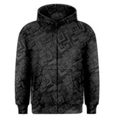 Black Rectangle Wallpaper Grey Men s Zipper Hoodie