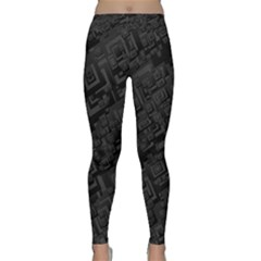Black Rectangle Wallpaper Grey Classic Yoga Leggings