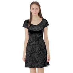 Black Rectangle Wallpaper Grey Short Sleeve Skater Dress