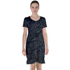 Black Rectangle Wallpaper Grey Short Sleeve Nightdress