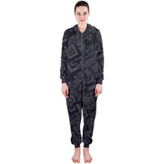 Black Rectangle Wallpaper Grey Hooded Jumpsuit (Ladies)