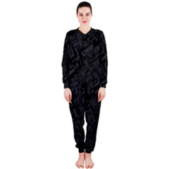 Black Rectangle Wallpaper Grey OnePiece Jumpsuit (Ladies)