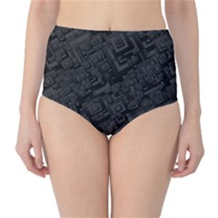 Black Rectangle Wallpaper Grey High-Waist Bikini Bottoms