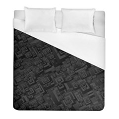 Black Rectangle Wallpaper Grey Duvet Cover (Full/ Double Size)
