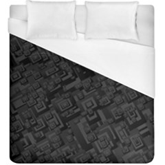 Black Rectangle Wallpaper Grey Duvet Cover (King Size)