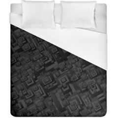 Black Rectangle Wallpaper Grey Duvet Cover (California King Size)