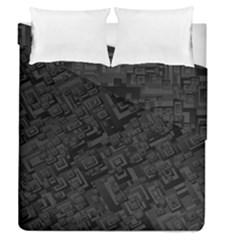 Black Rectangle Wallpaper Grey Duvet Cover Double Side (Queen Size)