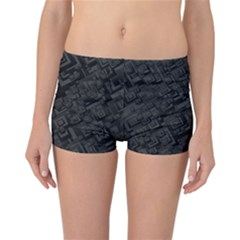 Black Rectangle Wallpaper Grey Reversible Bikini Bottoms