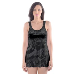 Black Rectangle Wallpaper Grey Skater Dress Swimsuit