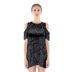 Black Rectangle Wallpaper Grey Cutout Shoulder Dress