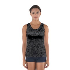 Black Rectangle Wallpaper Grey Women s Sport Tank Top