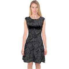 Black Rectangle Wallpaper Grey Capsleeve Midi Dress
