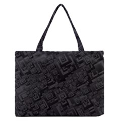 Black Rectangle Wallpaper Grey Medium Zipper Tote Bag