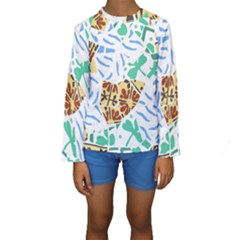 Broken Tile Texture Background Kids  Long Sleeve Swimwear