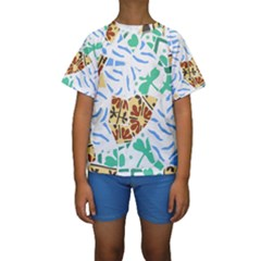 Broken Tile Texture Background Kids  Short Sleeve Swimwear