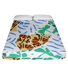 Broken Tile Texture Background Fitted Sheet (California King Size)
