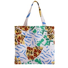 Broken Tile Texture Background Zipper Grocery Tote Bag