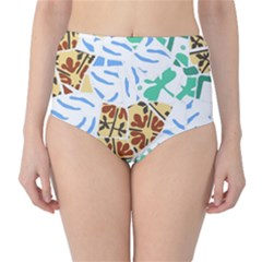 Broken Tile Texture Background High-Waist Bikini Bottoms