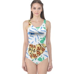 Broken Tile Texture Background One Piece Swimsuit