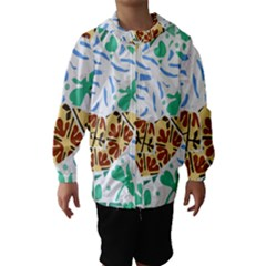 Broken Tile Texture Background Hooded Wind Breaker (Kids)
