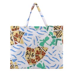 Broken Tile Texture Background Zipper Large Tote Bag