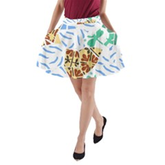 Broken Tile Texture Background A-Line Pocket Skirt