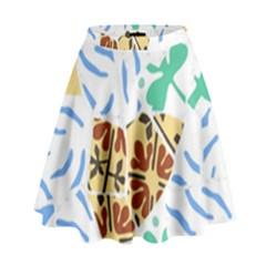 Broken Tile Texture Background High Waist Skirt