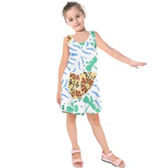 Broken Tile Texture Background Kids  Sleeveless Dress
