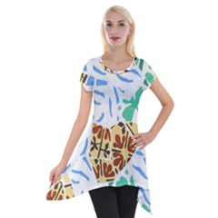 Broken Tile Texture Background Short Sleeve Side Drop Tunic