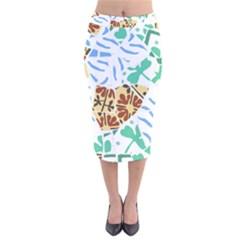 Broken Tile Texture Background Velvet Midi Pencil Skirt