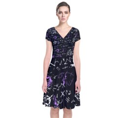 Abstract mind - purple Short Sleeve Front Wrap Dress
