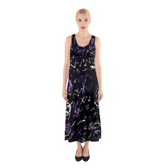 Abstract mind - purple Sleeveless Maxi Dress