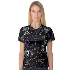 Abstract mind - purple Women s V-Neck Sport Mesh Tee
