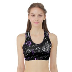 Abstract mind - purple Sports Bra with Border