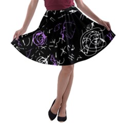 Abstract mind - purple A-line Skater Skirt